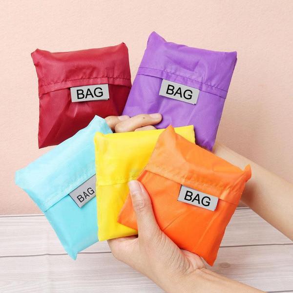 Eco Friendly Storage Handbag Foldable Usable Shopping Bags Reusable portable Grocery Nylon Large Bag Pure Color
