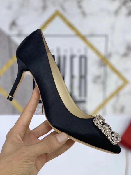 2019 Moda Tasarımcısı Lüks Kadın Ayakkabı Yüksek topuklu Siyah Slip-On Deri Sivri Burun Elbise Ayakkabı Pompaları yc19031312