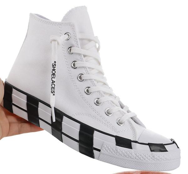 Chegada Nova listra Off Chuck 70 All Branco Calçado Taylor década de 1970 Estrela Mulheres do desenhador de moda Sapatilhas Skate Casual Shoes 36-45 c18