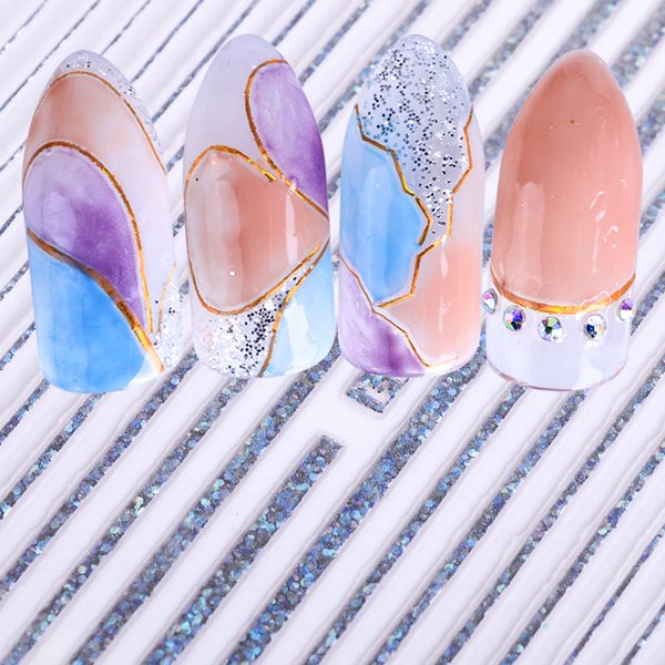 1pcs Laser Gold Silver Striping 3D Wave Lines Tips Nail Art Sticker Wrap Decal Transfer Tool Manicure Foil Decoration JIF137/139