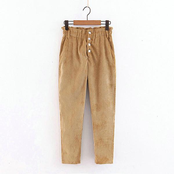 designer leggings casual pants women vintage high waist fleece corduroy trousers button pocket pants casual fashion female harem qb86