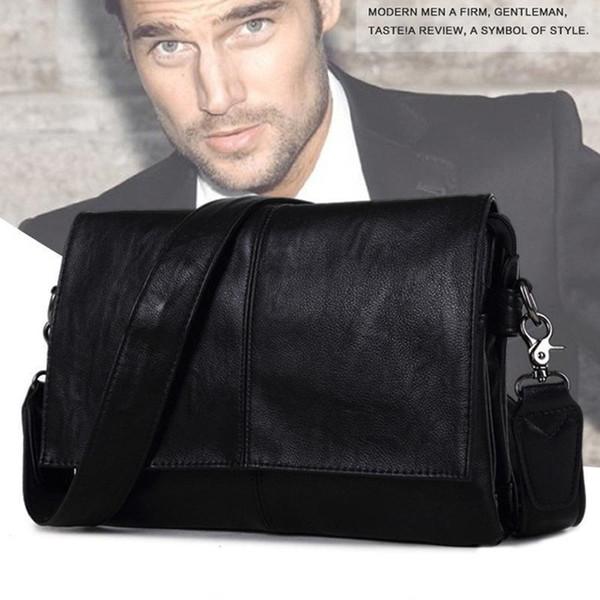 Mens Leather Bag Business Messenger Bag For Men Multi-function Shoulder Crossbody Flap Cover