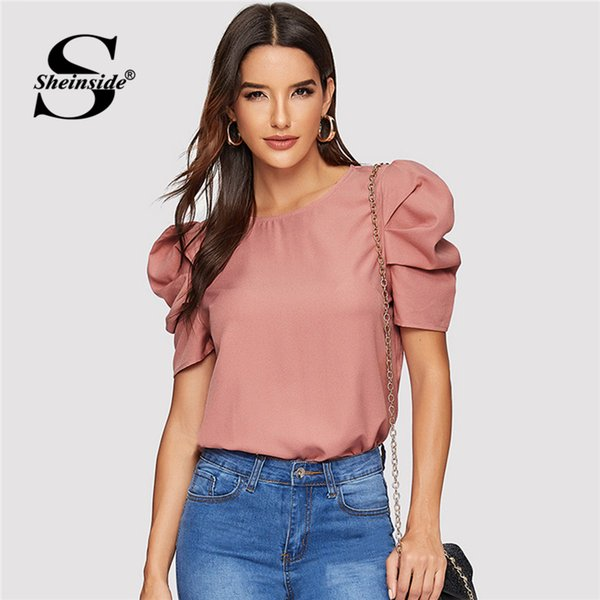 wholesale Elegant Keyhole Back Puff Sleeve Blouse Solid Top Summer Blouses for Women 2019 Short Sleeve Female