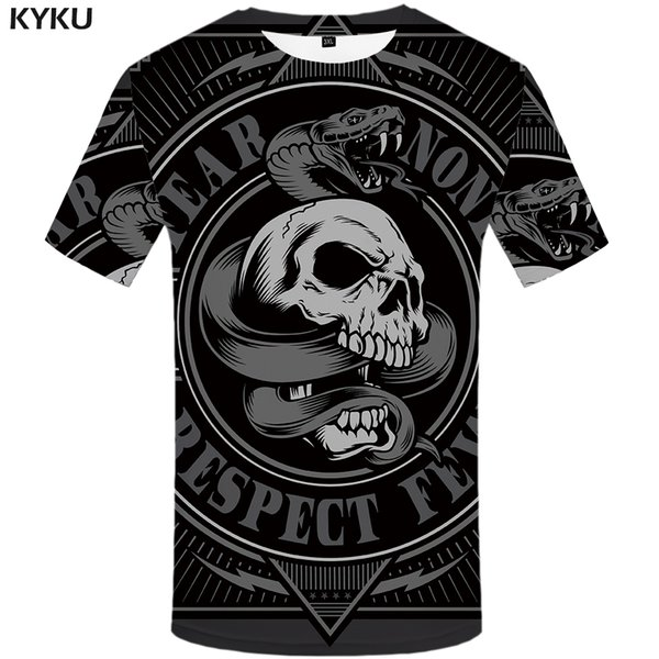 wholesale Animal T Shirt Men Black Skull Tshirt Snake 3d Print T-shirt Cool Funny T Shirts Casual Punk Rock Mens Clothing Summer