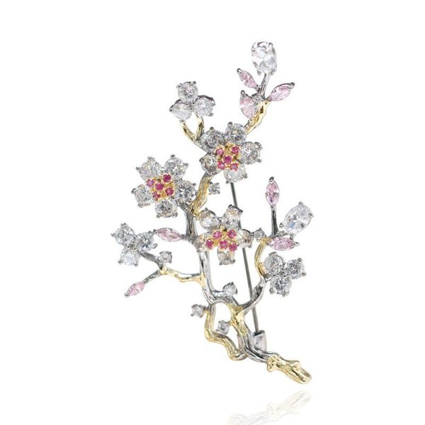 wholesale Luxury Tree Branch Flower Brooch with Crystal Beautiful Pins for Women Girl Gift
