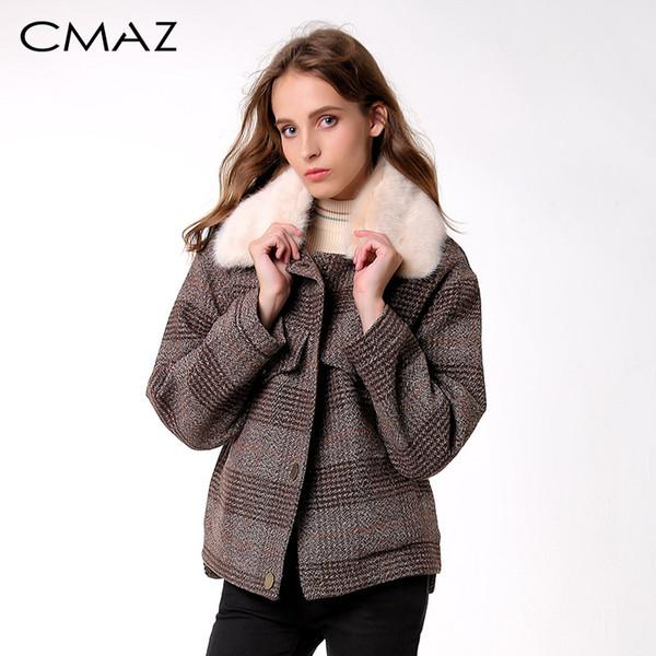 CMAZ 2019 Kadınlar Yeni kış giyim kalınlaşmak yün ceket kadın Kore versiyonu kısa gevşek Ekose yün ceket MX18D9536