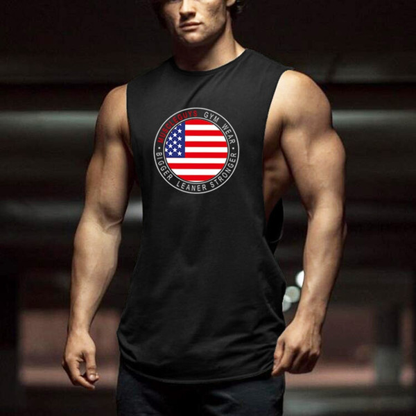 Muscleguys Cut Out Sleeveless Shirt Bodybuilding Clothing and Fitness Men Undershirt usa flag tank tops golds men muscle vest #105938