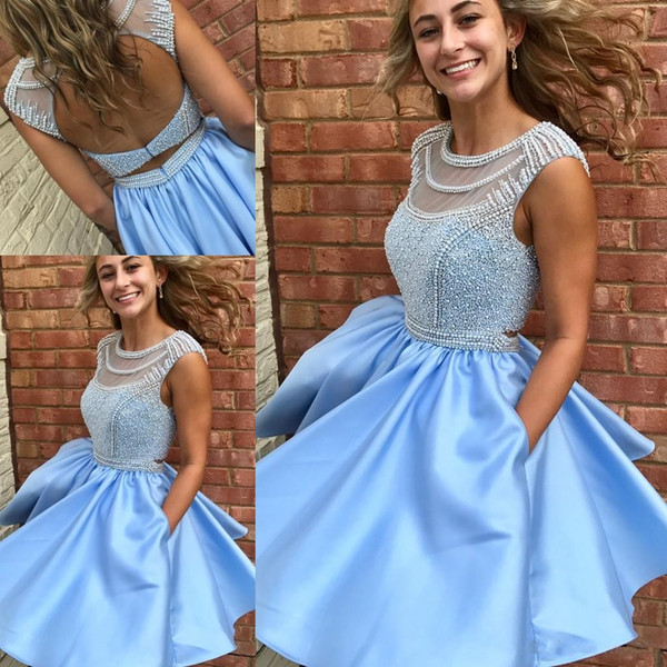 Fabulous Spring 2019 Short Prom Dresses Jewel Neck Open Back Heavy Pearls Beading Bodice Mini Sky Blue Homecoming Dresses with Pockets