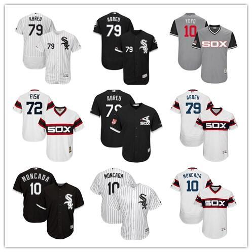 2019 Чикаго #10 Yoan Moncada 79 Jose Abreu мужчины#женщины#молодежь#мужская бейсбольная Майка Majestic сшитая профессиональная спортивная одежда White Sox
