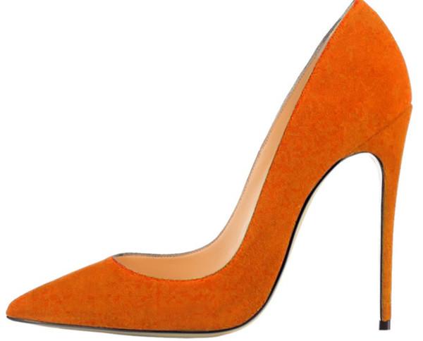 8 ile 10 cm 12cm Yüksek Topuklar Kadınlar Kırmızı Alt Nü Renk Gerçek Deri Noktası Burun Kauçuk Düğün Ayakkabı 34-46 pompaları Ayakkabı elbise