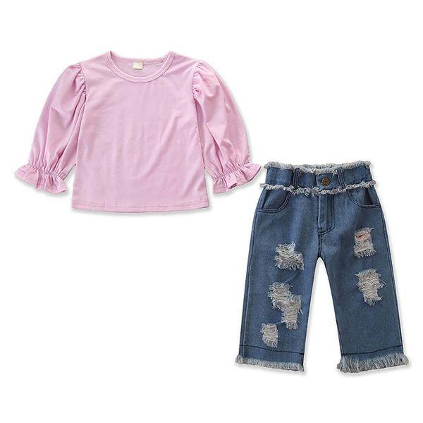 Herbst Kleinkind Baby Mädchen Langarm Bluse Tops Loch Design Denim Hosen Hosen Casual Outfits 1