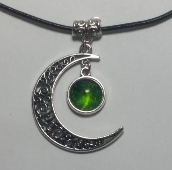 Crescent Moon Heart Charm Pendant Necklace with Black Cord