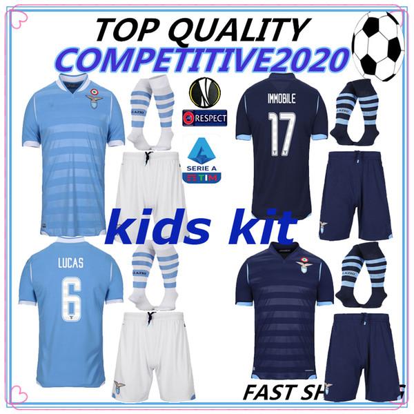 KIDS KIT 19 20 Lazio Tthailand Soccer Jersey home third #17 IMMOBILE #21 SERGEJ #19 LULIC #10 LUIS ALBERTO 2019 2020 Football Shirt
