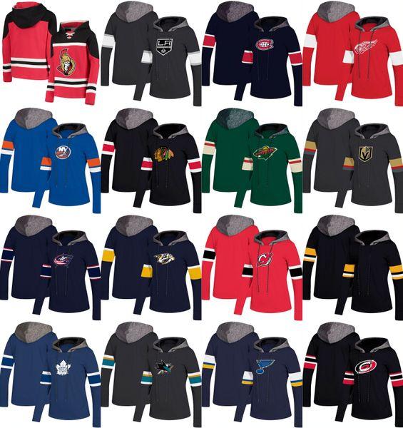 Mujeres Jersey de hockey Sudadera con capucha NY Islanders New Jersey Devils Toronto Maple Leafs Los Angeles Kings Detroit Red Wings Montreal Canadiens