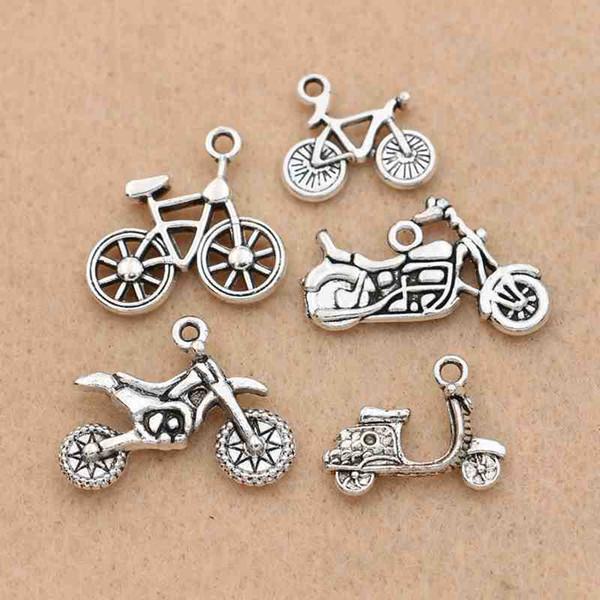 bracelets charm pendants 10pcs Antique Silver Plated Bike Bicycle Charms Pendants Bracelet Necklace Jewelry Making Accessories DIY 20x19mm