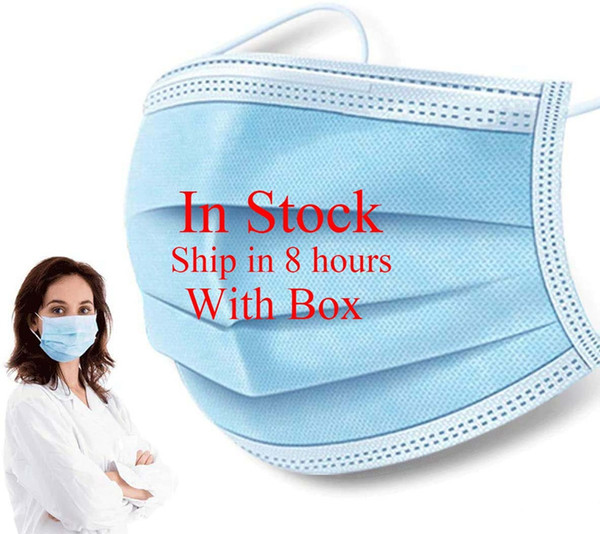 best selling In Stock! Adults Disposable Face Mask Non Woven Face Masks 3 Layer Anti-Dust Waterproof Dust Air Pollution Protection Free DHL