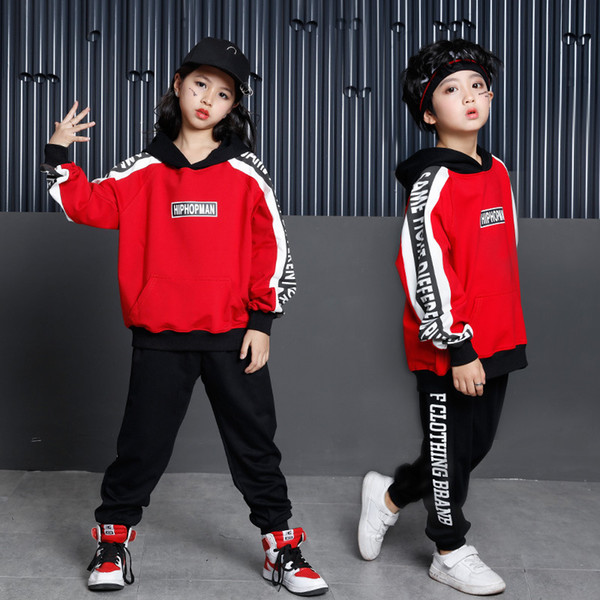 top popular Ballroom Clothing Hip Hop Dance Clothing for Girls Boys Jazz Hoodies and Pant Children Full Sleeve Dance Costume Kids Outfits 2021