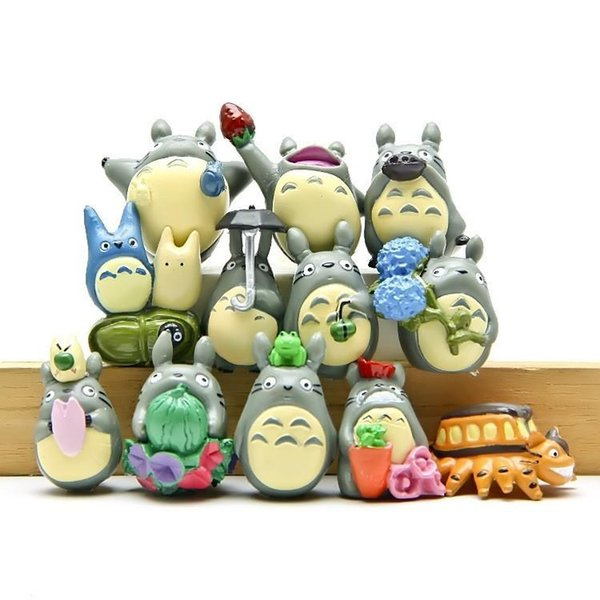 12 pz / set Studio Ghibli Figura Hayao Miyazaki Totoro Decorazione del Giardino Miniature Terrario Figurine Anime Action Figure Giocattoli