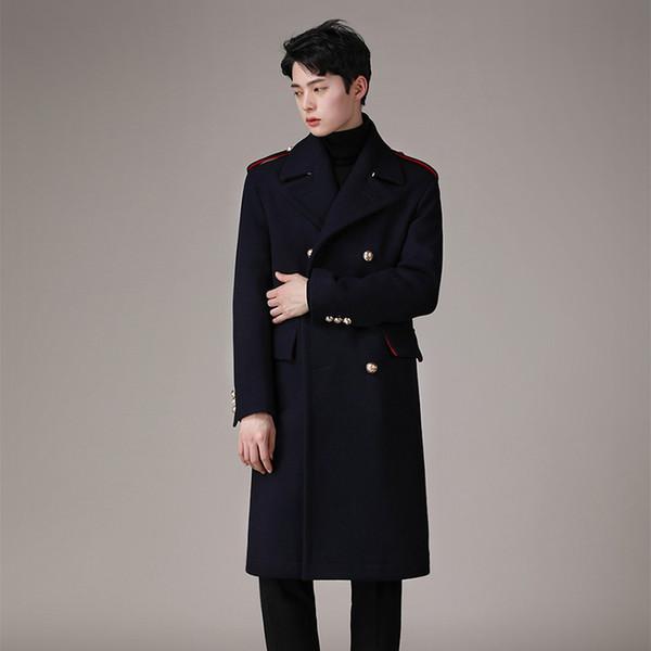 Großhandel Britischer Herren Woolen Cashmere Langer Parka Zweireihiger Trenchcoat Mantel Outwear Navy Black Luxury 2019 Von Chikui, $189.89 Auf