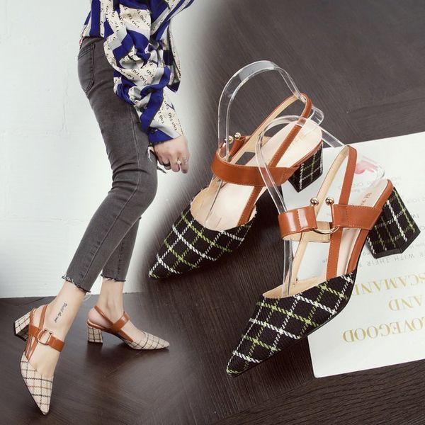 Designer Dress Shoes Spring Summer Woman Sandals Plaid High Heels Women Dress Slingbacks Pumps Pointed Toe Ladies Shoe Zapatos Mujer
