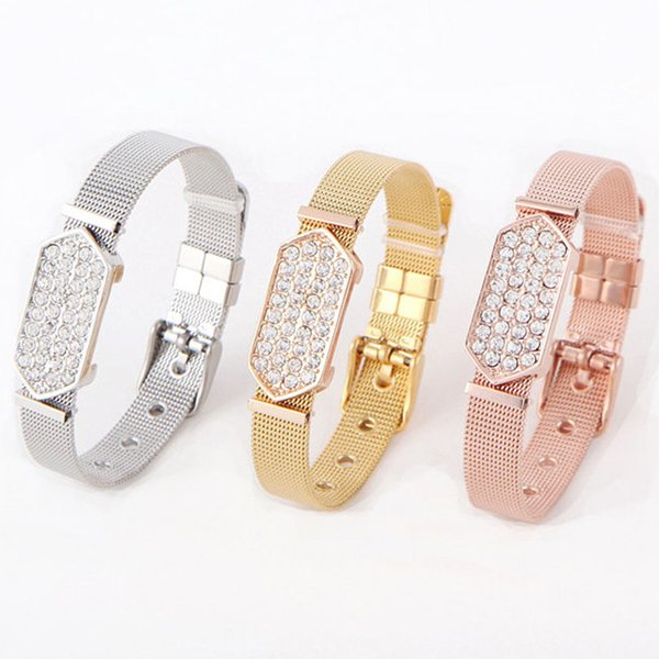 Wholesale Fashion Gold Rose Gold Stainless Steel Mesh Band Bracelet Alloy Crystal Charms Keeper Bracelet Free Shipping