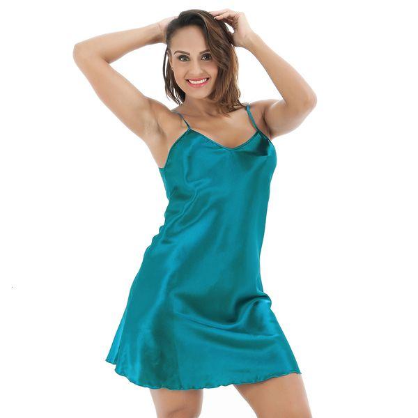 Intimo extrasize da donna blu della cinghia di spaghetti Night Dress Ladies' sexy del breve raso con scollo a V camicia da notte Sleepwear S-XXXL 0718 S923