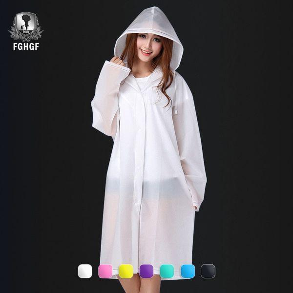 FGHGF Fashion Women Men Adults EVA Environment Transparent Raincoat With Hood For Rain Coat Outdoor Rainwear Waterproof Poncho #16844