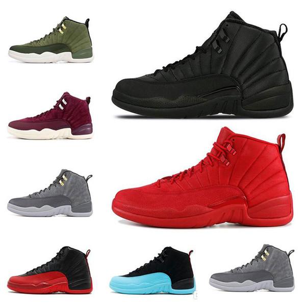 12 12s chaussures de basket-ball pour hommes hiverisés WNTR Gym rouge jeu de la grippe gris foncé le maître loup gris hommes baskets de sport taille 8-13