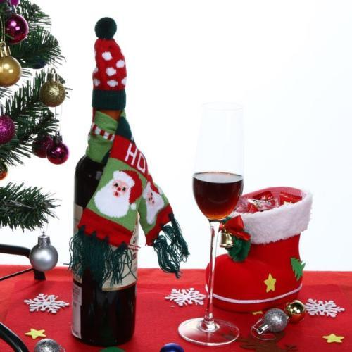 HOT Red Wine Bottle malha Scarf Hat Tampa Bolsas Jantar Tabela Decor Festa de Natal
