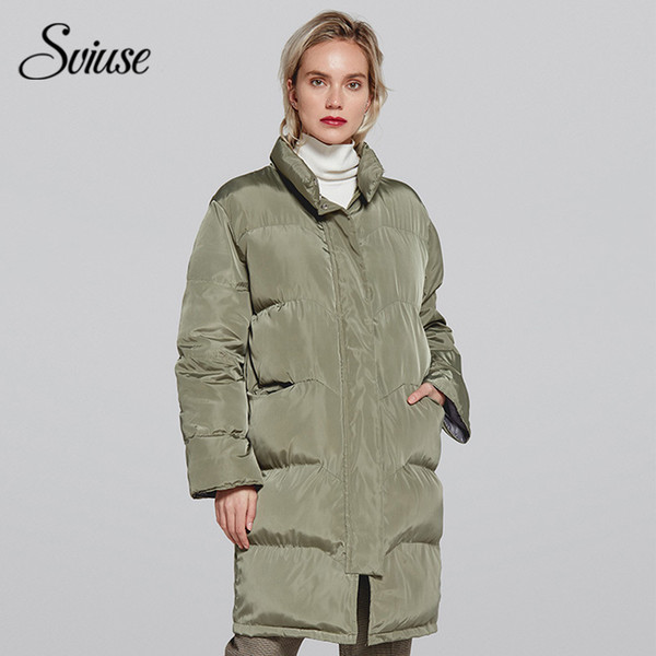 long padded jacket women winter 2018 army green thick long parkas casual female white down jacket warm outerwear - from $39.70