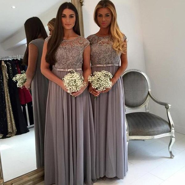 2019 Cheap Chiffon Country Bridesmaid Dresses Grey Bateau Neck Cap Sleeves Beach Floor Length Lace Wedding Party Dresses