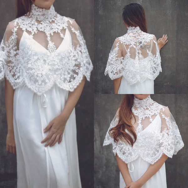 New Design Cloak wedding dress High Neck Lace See Through Covered Back Chiffon Beach Garden Bridal Gown Fitted Wedding Gowns With Wraps 2019