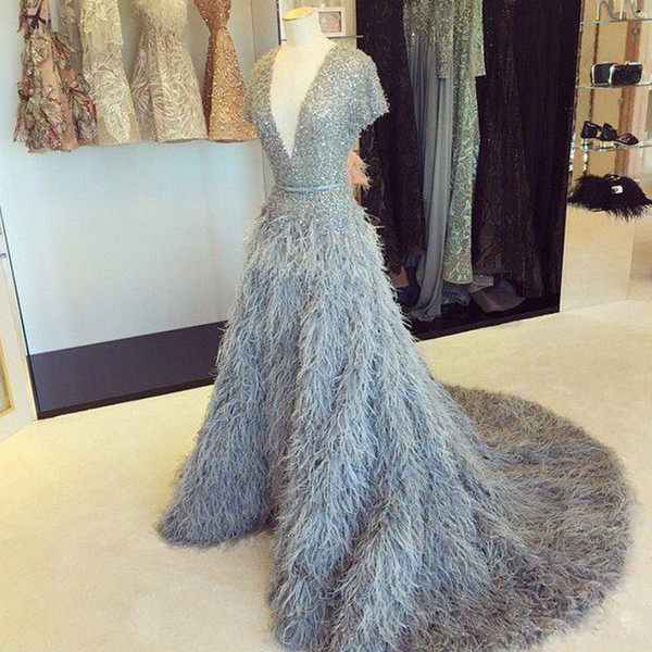 New Arrival Feather A-line Evening Dresses V-neck Cap Sleeve Sequin Beaded Women's Celebrity Dress Sweep Train Winter Party Gowns