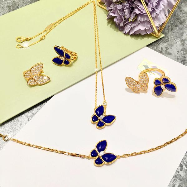 Bijoux Lady Mode Haute Qualité Ensembles en laiton Lapis Lazuli diamant Entre deux Colliers en or 18K papillon Boucles d'oreilles Bracelets Bagues Ensembles