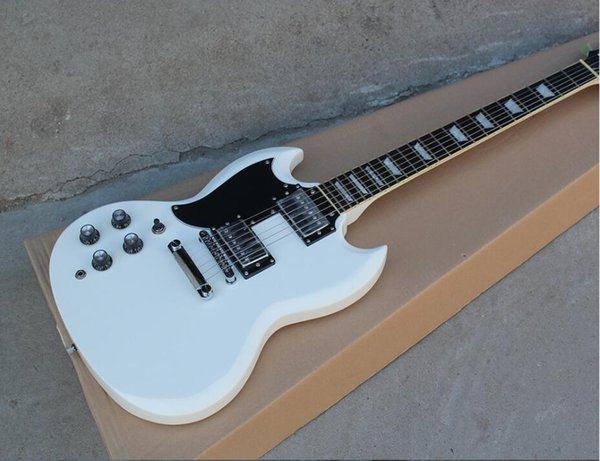 Boutique Factory custom White Left Handed Electric Guitar with 2 Pickups,Black Pickguard,Fixed Bridge,Chrome Hardwares,offer customized