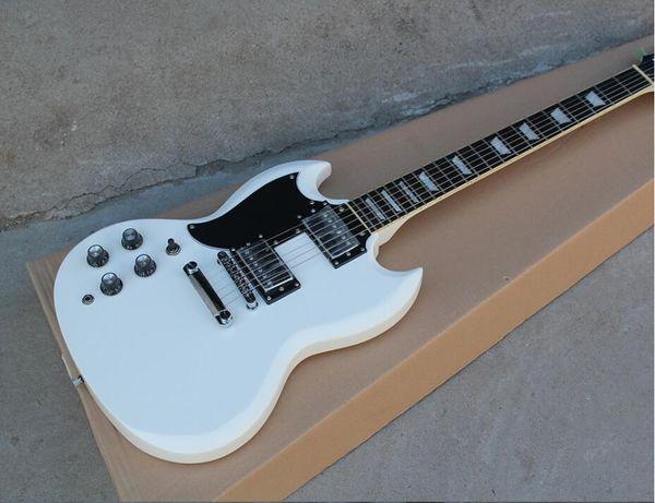 Butik Fabrika özel Beyaz Solak Elektro Gitar 2 Transfer, Siyah Pickguard, Sabit Köprü, Krom Donanım, teklif özelleştirilmiş