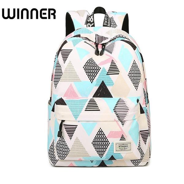 Casual Preppy Style Ladies Waterproof Backpack Geometry and Tree Patterns Printing Trendy Travel Female Bookbags for School #193218