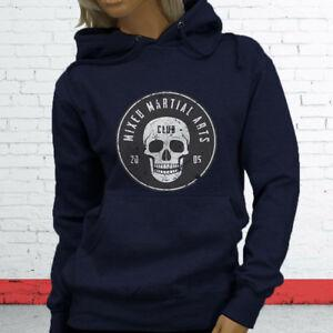 MMA MIXED MARTIAL ARTS CLUB CAGE FIGHTING FIGHT Womens Navy Hoodie