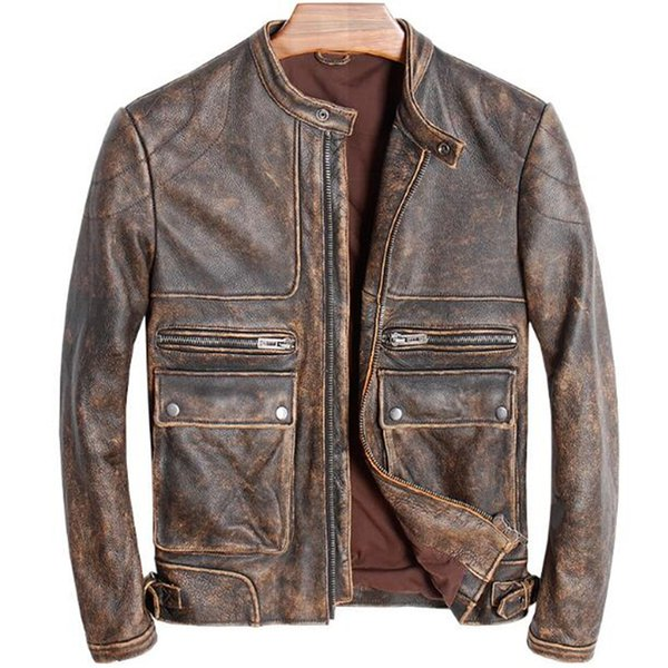 Genuine Leather Jacket Motorcycle Men Vintage Brown Stand Collar Retro Winter Autumn Real Cow Leather Coat chaqueta cuero hombre