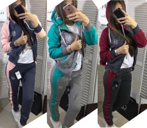 Frauen Anzug 2-teiliges Set Outfits Sportbekleidung Langarm-Jogging-Sportjacke Leggings Klagen Clubwear heiße Frauen Kleidung klw2574