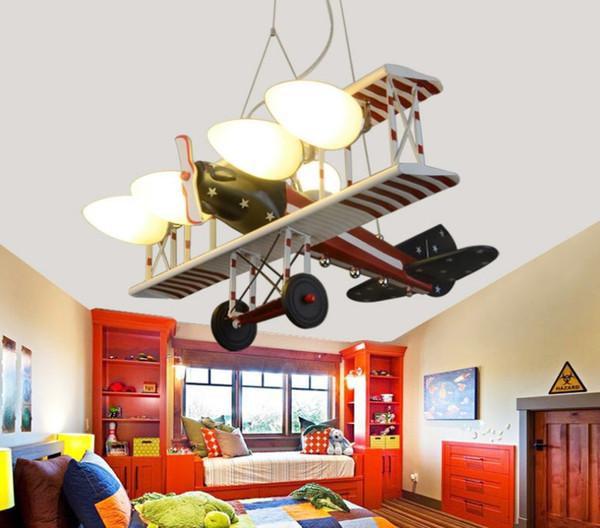 Creative Led Red American Aircraft Hanging Lights Children\'S Bedroom Lights  Boys\'Room Cartoon Lighting LLFA Lamp Shades Online Brass Pendant Light ...