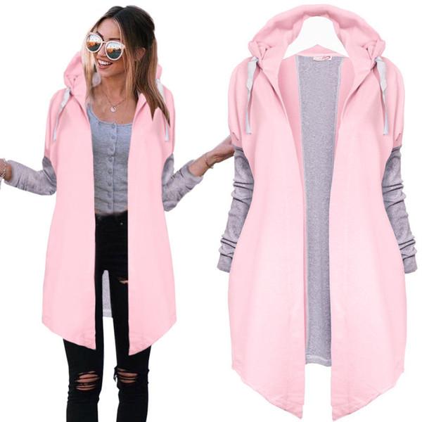 Casual Lady Long Tunic Hoodies Sweatshirt Coat Zip Up Outerwear Hooded Jacket Pink Blue Long Sleeve Autumn Clothing Hoodies