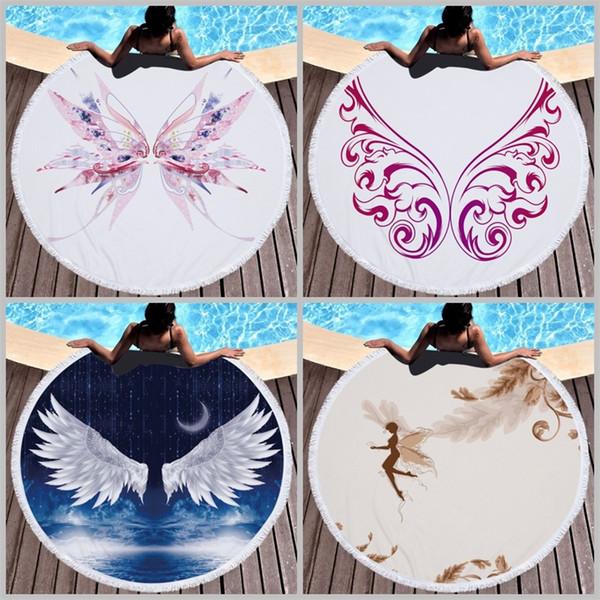 10 стилей трубка круглое пляжное полотенце 3D печать тончайшего волокна бахромой бахромой банные полотенца эльфы и крылья йога коврик