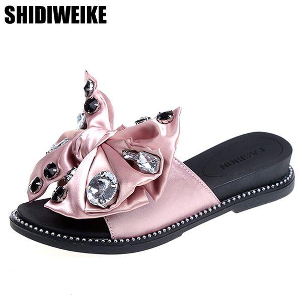 2018 shoes woman Beach Silk Slippers Fashion Solid Women Shoes Summer Sweet Crystal Butterfly-knot Flat Open-Toe Women Slides