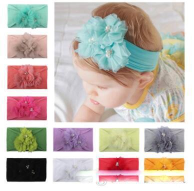 New Net Flower Pearl Girls Princess Headwear Nylon Elastic Headbands Wide Nylon Hair Bands Turban Hair Accessories