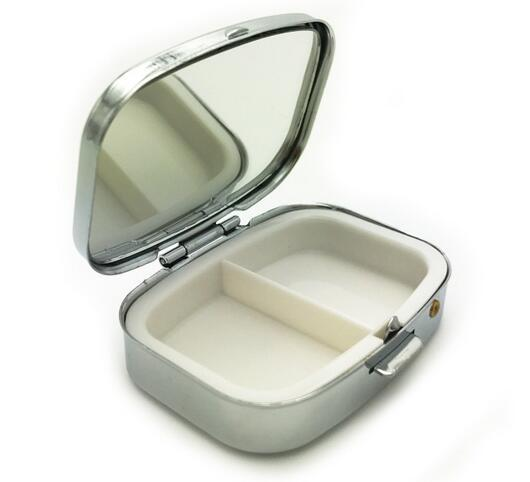 Rectangle silver Metal Pill Boxes Organizer DIY Medicine Case Holder 2 Compartments with compact mirror