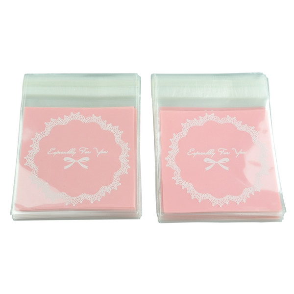 100 Pcs Self Seal Adhesive Opp Bag Round Lace Bow for Candies Cookies