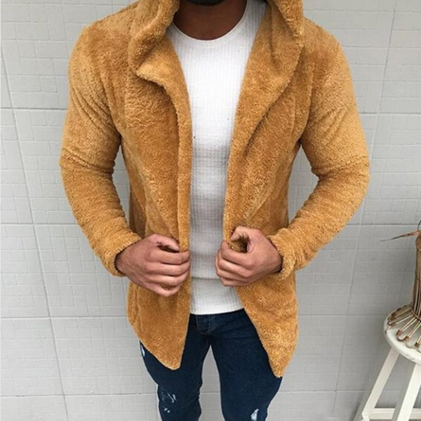 Thick warm men Hooded Jackets Coats Clothes Cardigan Fashion Fur Hat Cotton Solid Jacket Male Causal Outerwear Open Stitch