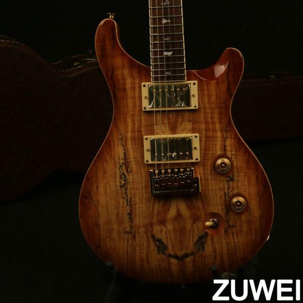 새로운 도착 일렉트릭 기타 Spalted 최고 베니어 듀얼 트레몰로 브릿지 버드 인레이 VS 컬러 골드 하드웨어