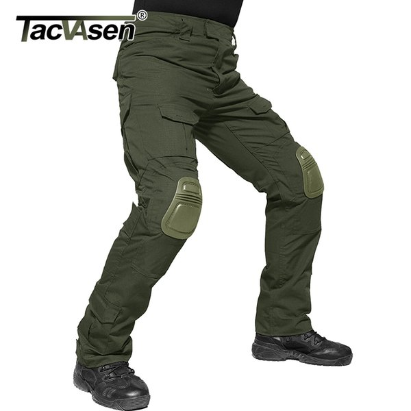 TACVASEN 2019 Men Military Pants With Knee Pads Men's Tactical Cargo Pants Army Green Soldier Pants Trousers Paintball ClothingMX190904